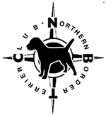 Northern Border Terrier Club black & white logo with a compass & border terrier silhouette and text around it