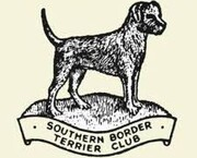 Southern Border Terrier Club logo line drawing of a border terrier on a stand on cream background