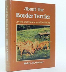About the Border Terrier book front cover with photo of 6 border terriers sniffing grass