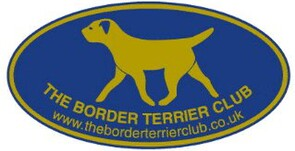 The Border Terrier Club logo blue oval background with gold text and image of trotting border terrier