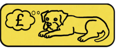 BTW donate button - yellow background with black outline and line drawing of border terrier lying down with a thought bubble with a £ symbol