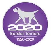 Border Terriers 2020 logo purple circle with white text and trotting border terrier silhouette