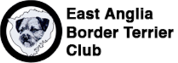 East Anglia Border Terrier Club logo black and white with border terrier head line drawing in circle and black text