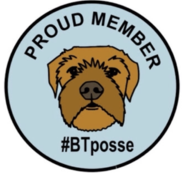 #BTPosse twitter community badge image blue circle with a black outline and black text saying Proud Member with a colour line drawing of a border terrier head in the centre