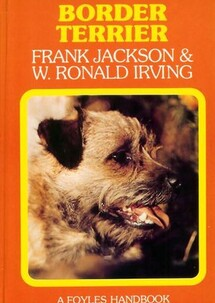 Border Terrier book front cover with a photo of a border terrier head with open mouth