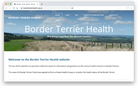 image of home page of Border Terrier Health group website