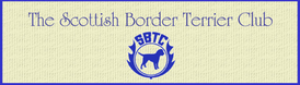 The Scottish Border Terrier Club logo cream rectangle with blue text and SBTC crest