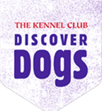 The Kennel Club Discover Dogs logo textured pale purple vertical pennant with red and purple text on it